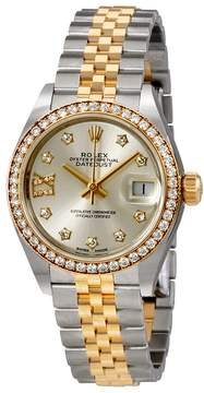Rolex Lady Datejust Silver Roman Diamond Dial Automatic Watch