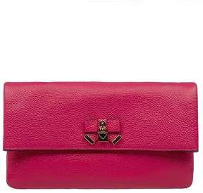 Michael Kors Fuchsia Everly Hammered Leather Clutch - PINK - STYLE