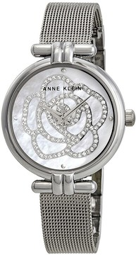 Anne Klein Mother of Pearl Swarovski Crystal Flower Dial Ladies Watch