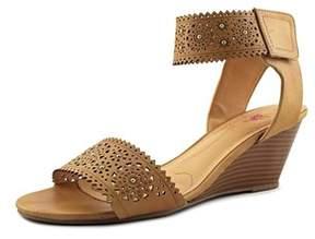 XOXO Sallie Women Open Toe Synthetic Tan Wedge Sandal.