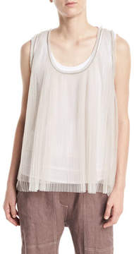 Brunello Cucinelli Scoop-Neck Tulle Pleated Tank with Cotton Tank Attached
