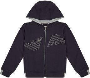 Armani Junior Reflections Logo Zip Hoodie