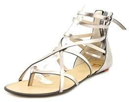 Joe's Jeans Keller Women Open Toe Leather Silver Gladiator Sandal.