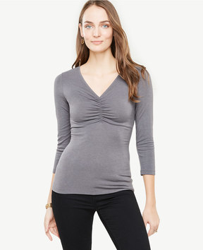 Ann Taylor Ruched V-Neck Top