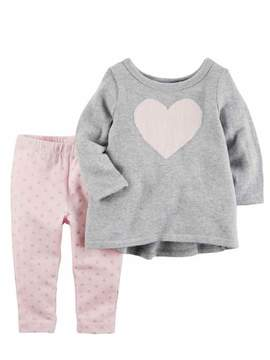 Carter's Infant Girls Baby Outfit Gray Heart Sweater Shirt & Pink Dot Pants NB