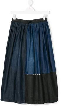 Diesel denim patchwork midi skirt
