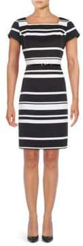Ellen Tracy Short Sleeve Striped Sheath Dress