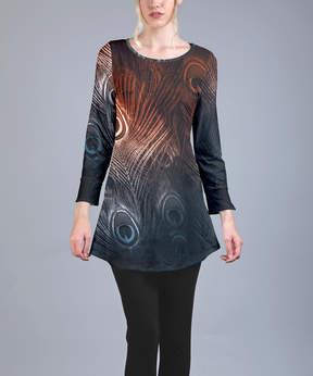 Azalea Rust & Navy Peacock Feathers Tunic - Women & Plus