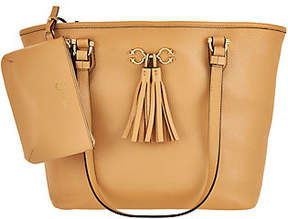 C. Wonder Pebble Leather Open Tote Handbag with Pouch