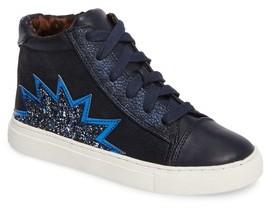 Steve Madden Girl's Jflash Glitter Star High Top Sneaker