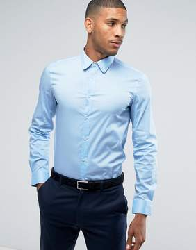 Benetton Slim Fit Shirt With Stretch In Blue