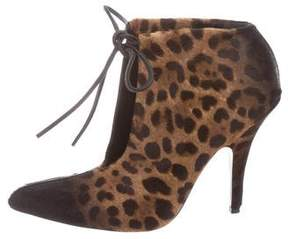 Tom Ford Pointed-Toe Ponyhair Ankle Booties