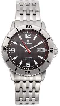 Croton Men's Aquamatic Stainless Steel Black Dial Sport Watch with Date