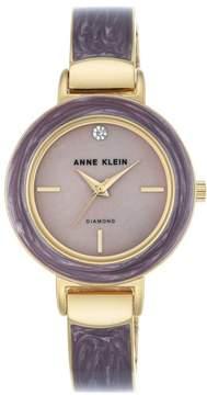 Anne Klein Goldtone Diamond-Accented Purple Bezel Bracelet Watch