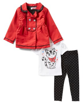 Flapdoodles Little Girls 2T-6X Long-Sleeve Peacoat, Short-Sleeve Graphic Tee & Dotted Leggings Set