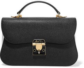 Mark Cross Dorothy Two-tone Textured-leather Shoulder Bag - Black