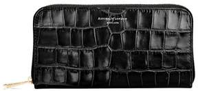 Aspinal of London Continental Clutch Zip Wallet In Deep Shine Black Croc