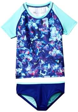 Under Armour Kids Metaquartz Rashguard Set Girl's Swimwear Sets