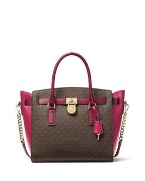 MICHAEL Michael Kors Hamilton Large Colorblock Satchel Bag - BROWN/MULBERRY - STYLE