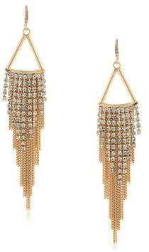 ABS by Allen Schwartz Color Binge Fringed Chain & Crystal Chandelier Earrings