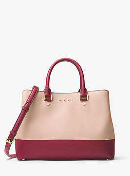Michael Kors Savannah Color-Block Saffiano Leather Satchel - PINK - STYLE