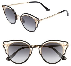 Jimmy Choo Women's Dhelias 48Mm Cat Eye Sunglasses - Black Gold