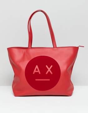 Armani Exchange face logo tote bag