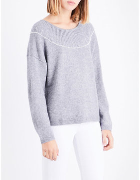 Claudie Pierlot Pearlescent beaded knitted jumper
