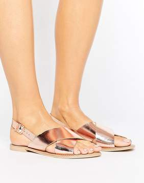 Faith Leather Rose Gold Flat Sandals
