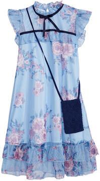 Beautees Big Girls 2-Pc Floral-Print Dress & Crochet Purse Set
