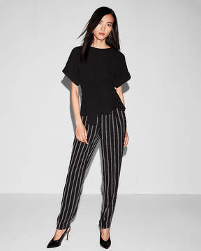 Express Textured Tie Waist Rolled Sleeve Blouse