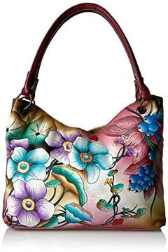 Anuschka Anna by Women's Genuine Leather Large Satchel | Hand Painted Original Artwork | Floral Berries