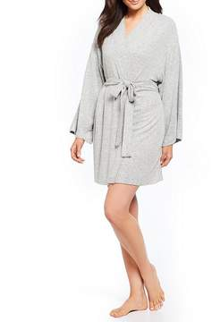 Flora Nikrooz Skylar Floral-Embroidered French Terry Wrap Robe