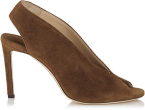Jimmy Choo SHAR 85 Cacao Suede Sandal Booties