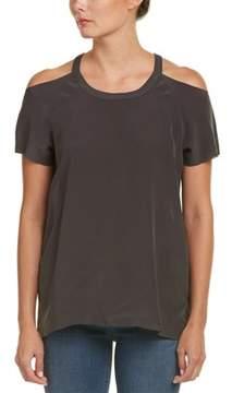 Chaser Cold-shoulder Silk T-shirt.