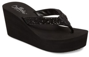 Callisto Women's Piers Sparkle Wedge Flip Flop