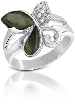 Del Gatto Diamond and Black Mother-of-Pearl Butterfly 18K Gold Ring