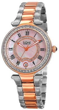 Burgi Mother Of Pearl Dial Ladies Two Tone Watch