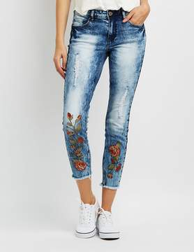 Charlotte Russe Destroyed Marble Wash Floral Embroidered Jeans