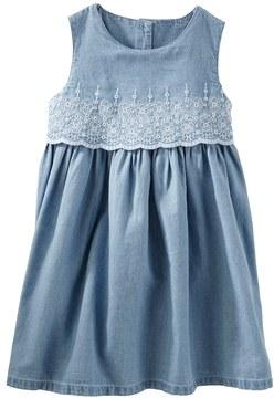 Osh Kosh Toddler Girl Two-Tier Eyelet Chambray Dress