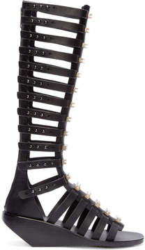 Rick Owens Black and Silver Gladiator Cage Sandals