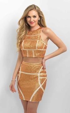 Blush Lingerie C352 Geometrical Patterned Two-Piece Metallic Dress