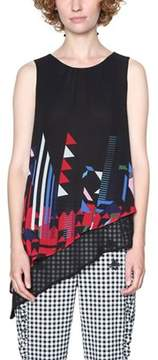 Desigual Women's Black Polyester Tank Top.