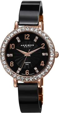 Akribos XXIV Black Dial Rose Gold-tone Base Metal Ladies Watch