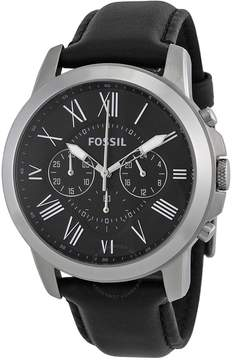 Fossil Grant Black Dial Black Leather Men's Watch
