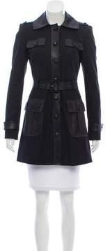 Rachel Zoe Leather-Trimmed Trench Coat