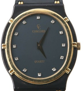 Concord La Costa 18K Gold & Gun Metal Quartz Diamond Markers 30mm Watch