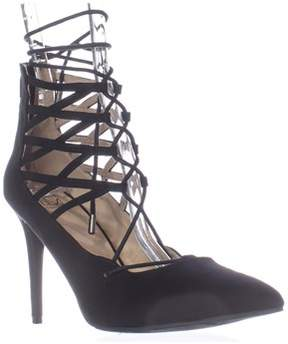 Material Girl Mg35 Pronto Lace Up Pointed Toe Heels, Black.