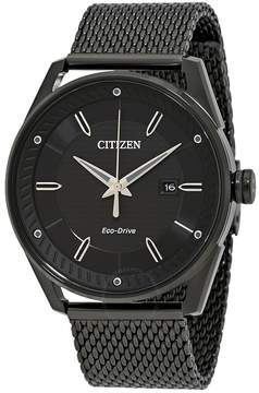 Citizen Drive Black Dial Black Ion-plated Mesh Men's Watch