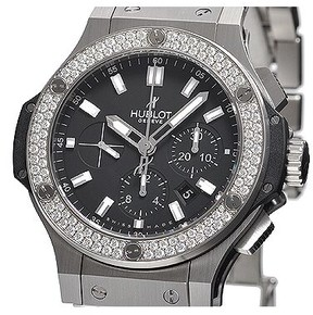 Hublot Big Bang Steel Black Dial Chronograph Diamond Bezel Men's Watch 301SX1170SX1104